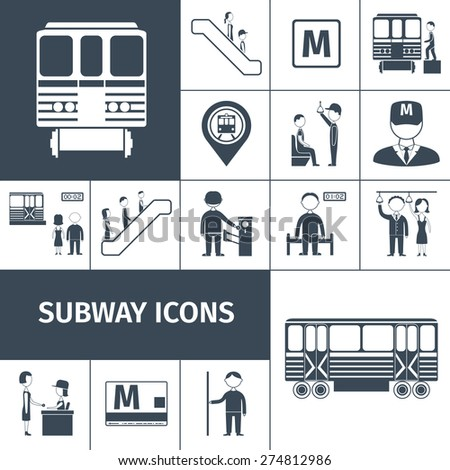 Subway transport train and station icons black set isolated vector illustration - stock vector