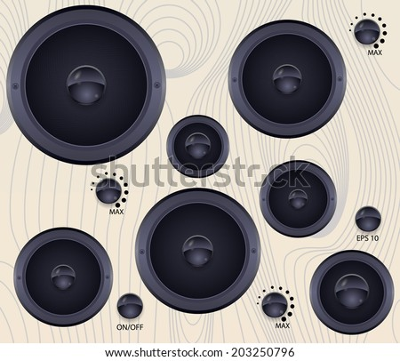 Subwoofers wall with tuners. Vector illustration.