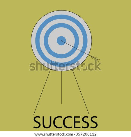 Succes icon flat design. Target and arrow, bulls eye, goal center, strategy sport game and business. Vector art abstract unusual fashion illustration - stock vector