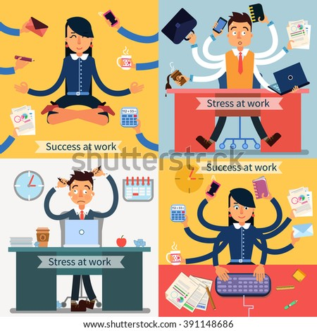 Success at Work. Stress at Work. Man at Work. Man with Laptop. Woman at Work. Woman in Yoga Pose. Multitasking Work. Modern Life. Lack of Time. Successful Woman. Vector illustration. Flat style - stock vector