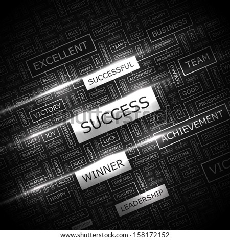 SUCCESS. Background concept wordcloud illustration. Print concept word cloud. Graphic collage with related tags and terms. Vector illustration.