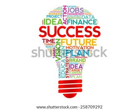 SUCCESS bulb word cloud, business concept - stock vector