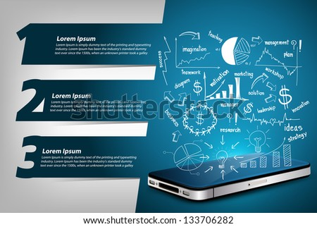 Success business concept, Drawing graphs and charts on mobile phone, With Modern Design template / infographics / numbered banners - stock vector