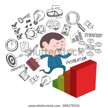 success businessman climbing graphic chart with some doodle on the background - stock vector