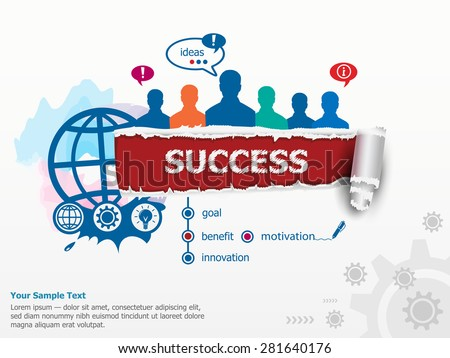 Success concept and group of people. Set of flat design illustration concepts for business, consulting, finance, management, career, human resources.   - stock vector
