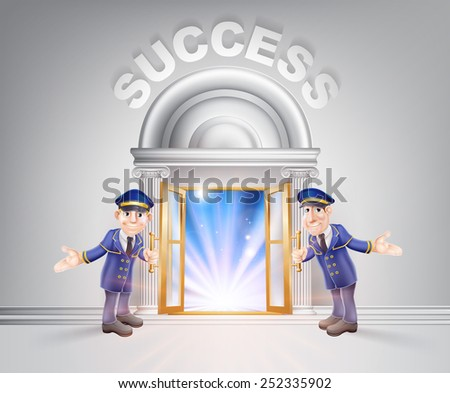 Success concept of a doormen hoding open a door to success with light streaming through it. - stock vector
