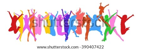 Success Concept People Jumping  - stock vector
