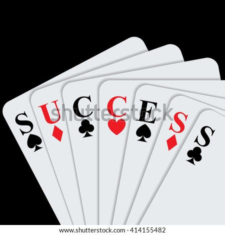 Success concept with playing cards. Vector Illustration