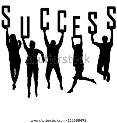 Success concept with young team silhouettes - stock vector