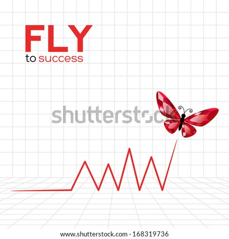 Success graphic with ruby butterfly. Vector Illustration - stock vector