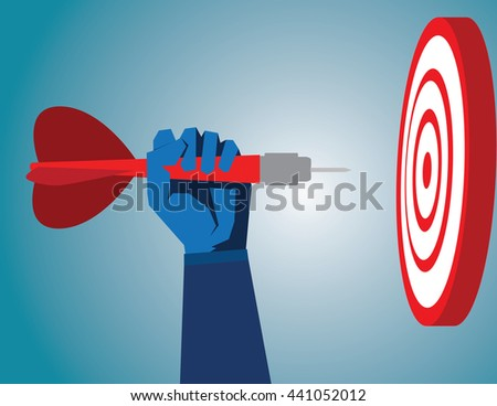 Success hitting target as a business assistance concept with the help of a guide as a symbol for goal achievement management and aim to hit the bull's eye as a dart assured to go straight to center. - stock vector
