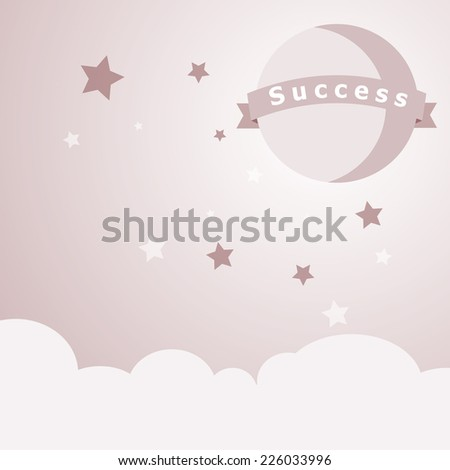 Success  moon with cloud and sky, vision and success business concept . Vector EPS 10.