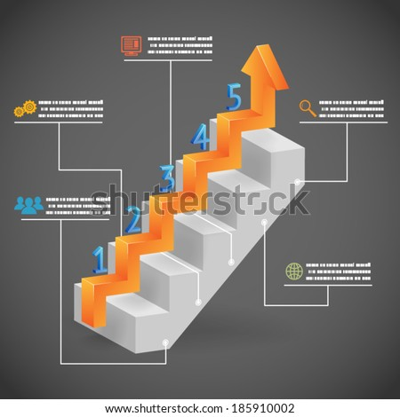 Success Steps Concept Arrow and Staircase Infographic Icons Vector Illustration - stock vector