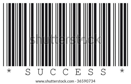 Success word and real bar code.