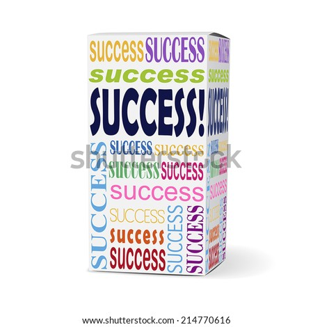 success word on product box with related phrases