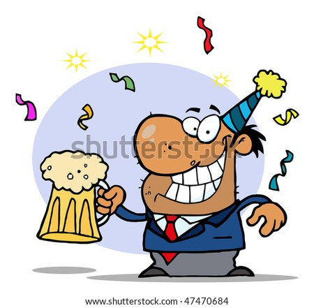 Successful African American Businessman Celebrating At A Party With Beer - stock vector