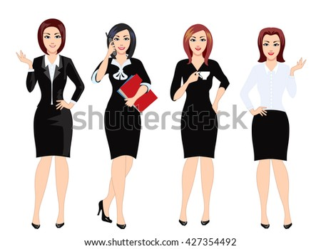 Successful and beautiful women in office clothes. Work clothes for the office staff. Vector illustration. - stock vector