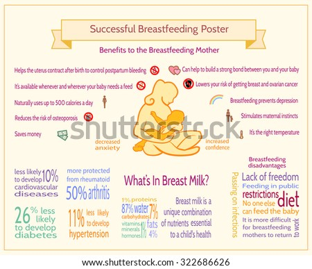 Successful Breastfeeding Poster Maternity Infographic Template - Breastfeeding brochure templates