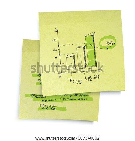 Successful business graph on sticky yellow paper. Realistic vector illustration, EPS10. - stock vector