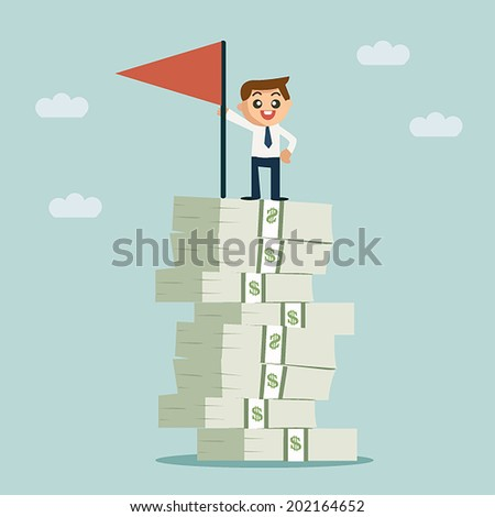 Successful business man standing on growth money stairs - stock vector