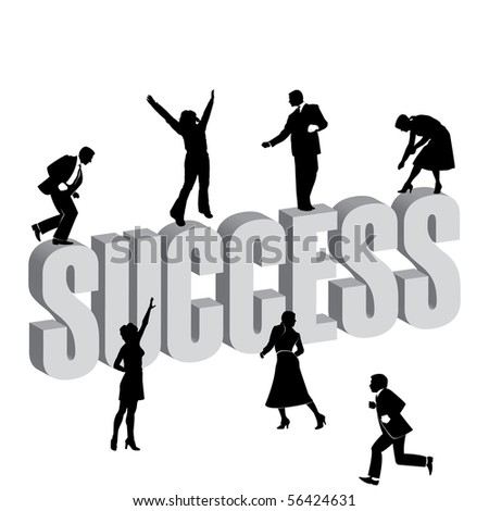 Successful business men and women working together - stock vector