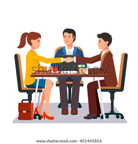 Successful business negotiations. Closed deal handshake over a desk. Flat style vector illustration. - stock vector