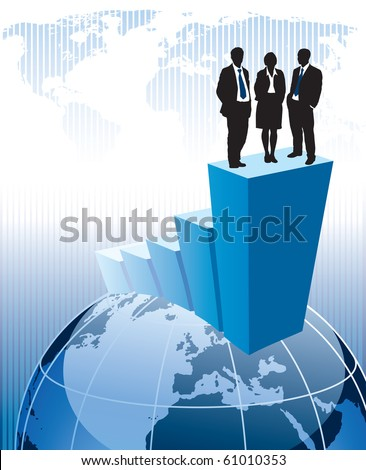 Successful business team is standing on a large graph.