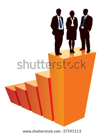 Successful business team is standing on a large graph, conceptual business illustration. - stock vector