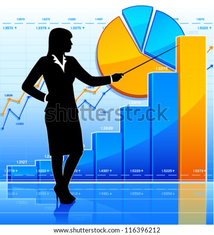 Successful business woman represents growth chart. (EPS10 vector) - stock vector