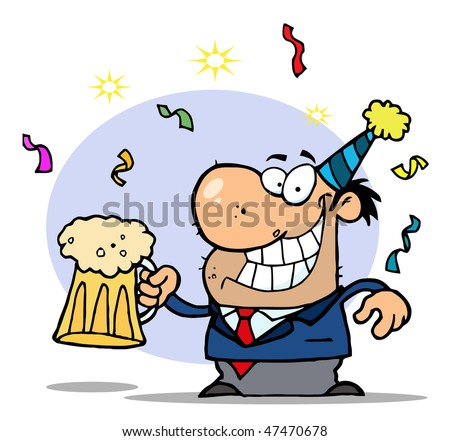 Successful Businessman Celebrating At A Party With Beer - stock vector