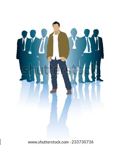 Successful businessman in front of a group of people - stock vector