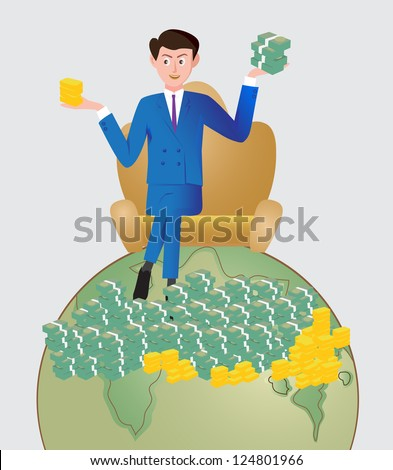 Successful businessman on top of the world. - stock vector