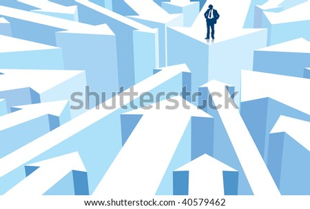 Successful businessman standing on a direction sign, conceptual business illustration. - stock vector