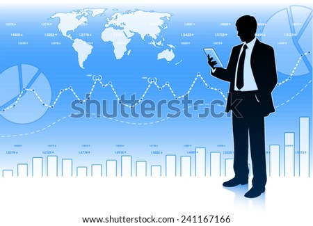 Successful businessman with tablet computer. (EPS10 vector) - stock vector