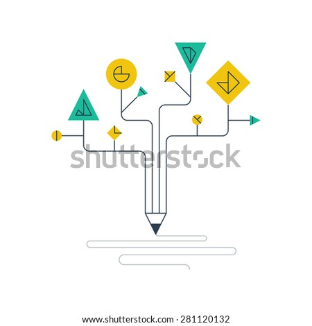 Successful creative writing components. Scientific research. Education technology. Screenwriting and storytelling concept. - stock vector