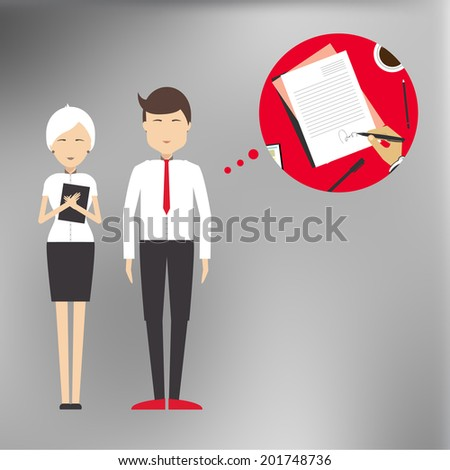 Successful deal, signing the contract agreement between the parties in a flat style for vector blurred background.  - stock vector