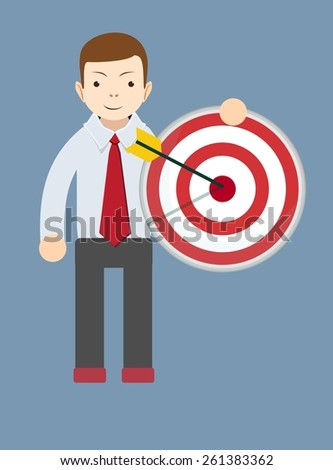 Successful friendly man or teacher holding a target with arrow. Stock Vector illustration - stock vector