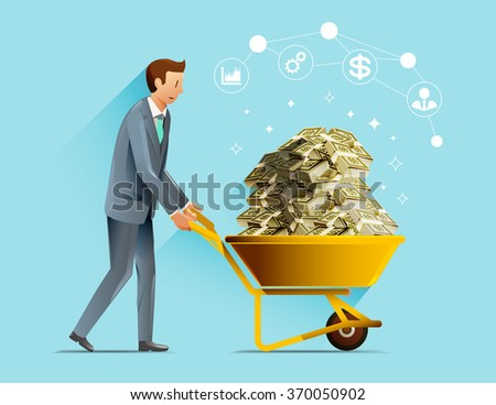 Successful in business investment. Profit for the year. - stock vector