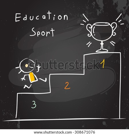 Successful Kid running, winning first place, cup. Chalk on blackboard doodle style education concept vector illustration. - stock vector