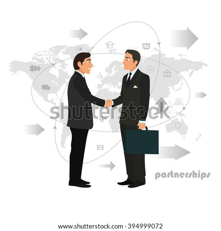 Successful partnership, business people cooperation agreement, teamwork solution and handshake of two businessmen Isolated on stylish background. partnership concept,  business partnership,  handshake - stock vector