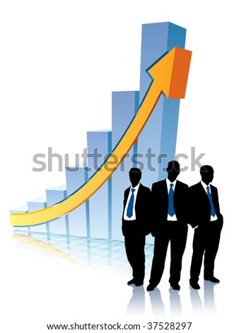 Successful people are standing in front of a large graph, conceptual business illustration. - stock vector