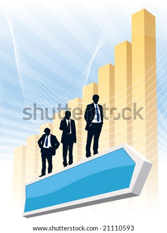 Successful people are standing on a flying direction sign, conceptual business illustration. - stock vector