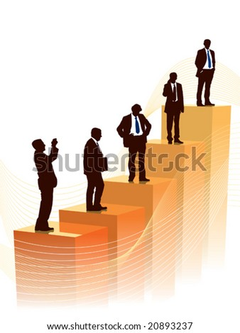 Successful people are standing on a large graph, conceptual business illustration. - stock vector