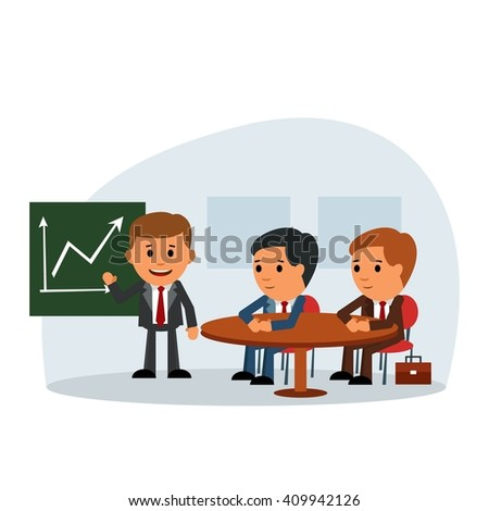 Successful people at the conference. Coffee break. meeting. planning. colleagues edification. Vector illustration in a flat design style. - stock vector