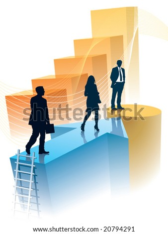 Successful people have reached a target, conceptual business illustration. - stock vector