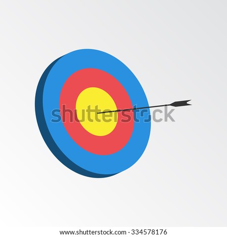 Successful shoot. Darts target aim icon. Reaching goal concept. Vector illustration.