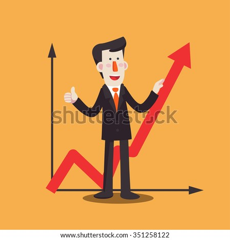 Successful smiling business man with a growing chart. Modern vector design style