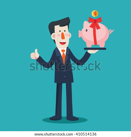 Successful smiling business man with a piggy bank as a present. Saving and investing money concept. Future financial planning concept. Modern vector design flat style - stock vector