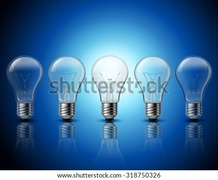Successful thinking and getting bright ideas metaphorical gradually burning light bulbs row  background banner realistic vector illustration