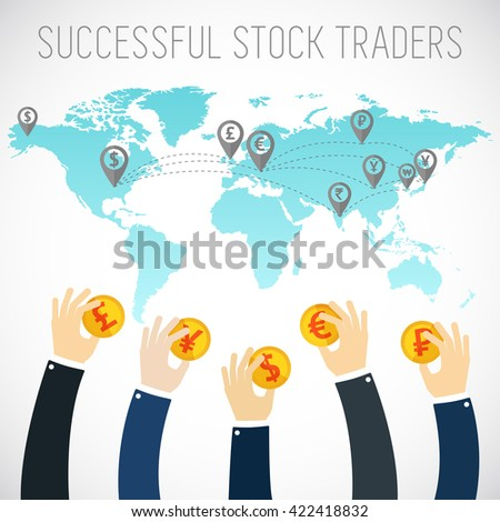 Successful trader. International business visual concept. Investment. Businessman hands holding gold coins. Trader. Gold coins. Foreign currency investment. Foreign currency exchange.Money exchange. - stock vector